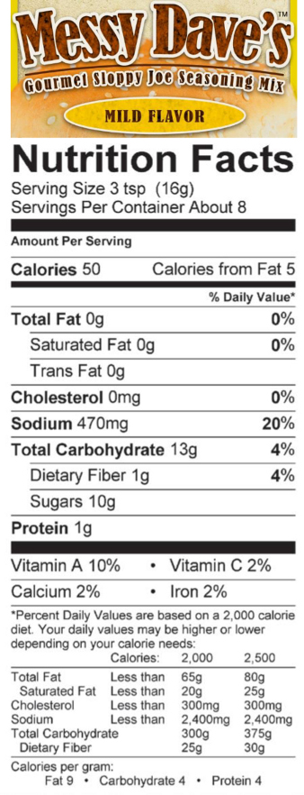 Mild Flavor Nutrition Facts