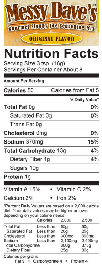 Original Flavor Nutrition Facts